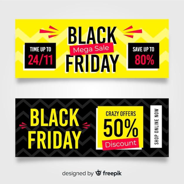 Black friday-verkaufsfahnenschablonen Kostenlosen Vektoren