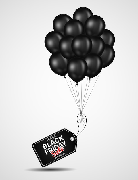 Black friday-verkaufsfliegerschablone mit schwarzem ballon. Premium Vektoren