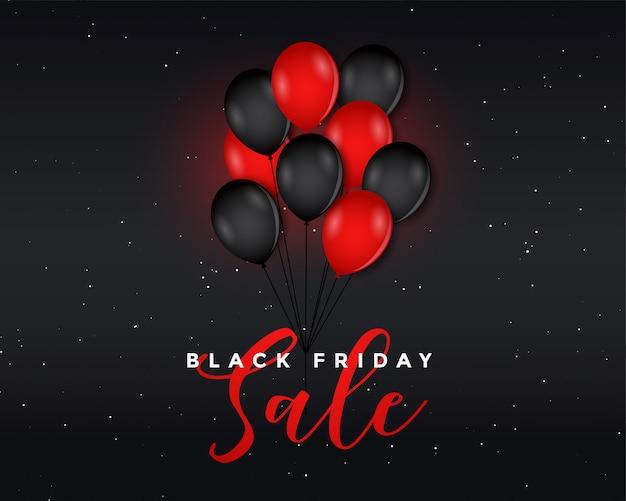 Black friday-verkaufsplakat mit fliegenden ballons Kostenlosen Vektoren