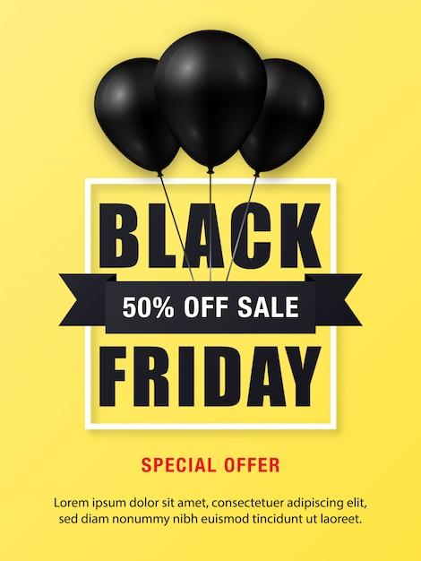 Black friday-verkaufsplakat mit glänzenden schwarzen ballonen Premium Vektoren