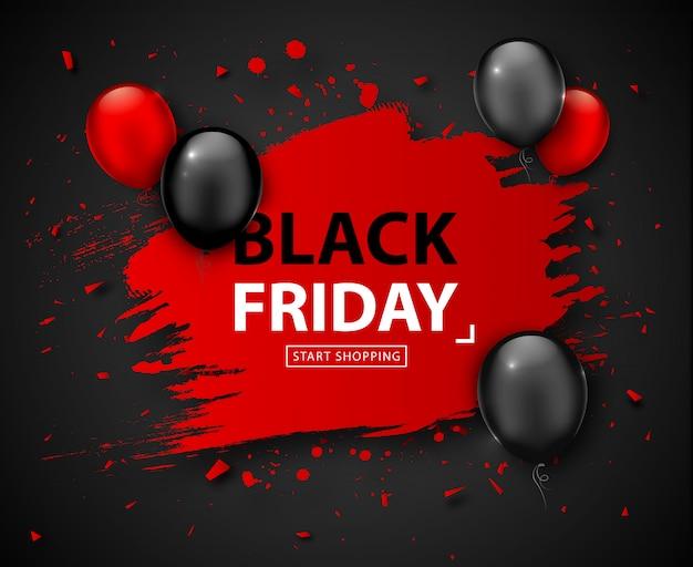 Black friday-verkaufsplakat. saisonrabattfahne mit den roten und schwarzen ballonen und rotem rahmen des schmutzes auf dunklem hintergrund. feiertagsdesignschablone für die werbung des einkaufens, räumungsverkauf am erntedankfest Premium Vektoren