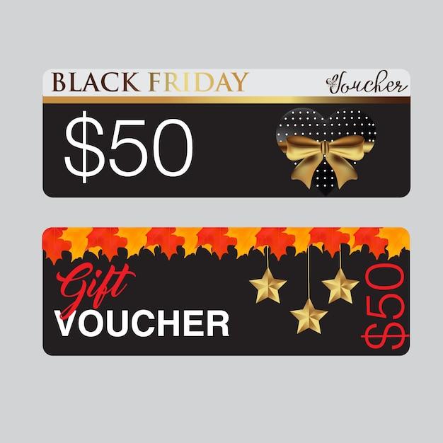Black friday voucher card template Premium Vektoren
