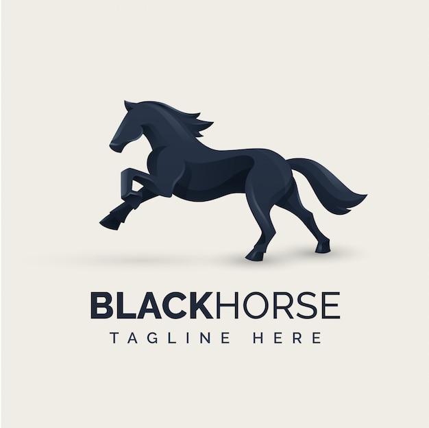 Black horse logo konzept Premium Vektoren