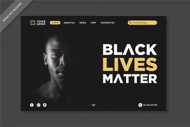 Black live matters landing pages vorlage Premium Vektoren