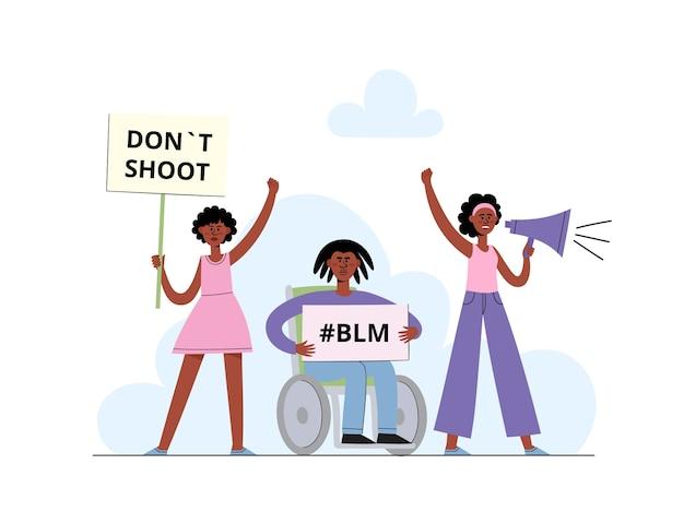 Black lives matter-konzept mit afroamerikanischer frau, die in megaphon und männer schreit, die plakat auf demonstration, plakat für rassengleichheit im karikaturstil auf weiß halten Premium Vektoren