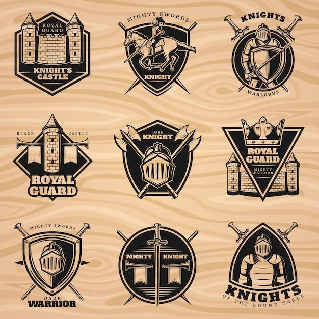 Black vintage knights emblems set Kostenlosen Vektoren