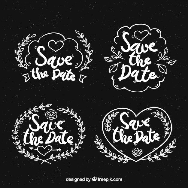 Blackboard Hochzeit Etiketten mit Herz Kostenlose Vektoren