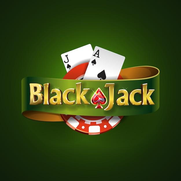 Blackjack-logo mit grünem band und auf grünem hintergrund, isoliert. kartenspiel. casino-spiel Premium Vektoren
