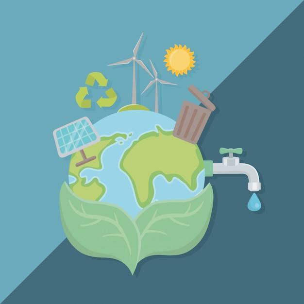 Blätter halten planeten und sparen energie design Premium Vektoren