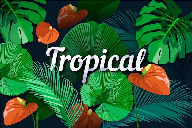 Blätter und calla blüht tropische beschriftung Kostenlosen Vektoren