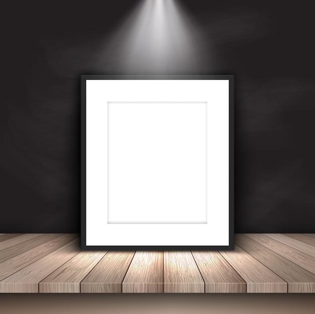 Blank bild unter scheinwerfer an tafel wand gelehnt Kostenlosen Vektoren