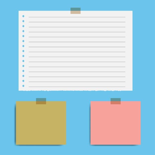 Blank quadrierte notizblockseiten und tesafilm Premium Vektoren