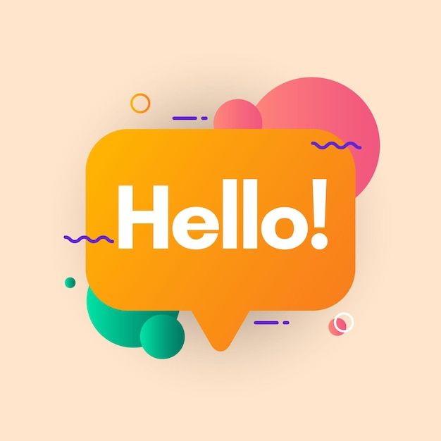 Blase mit text hallo vorlage. Premium Vektoren