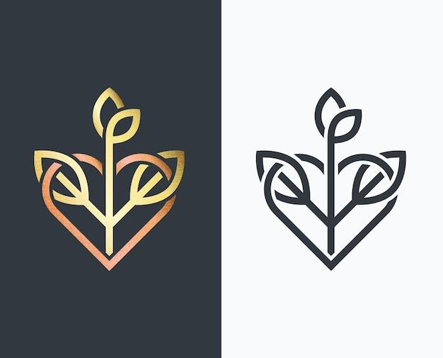 Blatt, goldene form und einfarbig mit herz und pflanze. Premium Vektoren