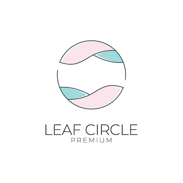 Blatt kreis logo design. logos können für spa, schönheitssalon, dekoration, boutique verwendet werden Premium Vektoren