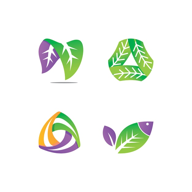Blatt logo design vector template set Premium Vektoren