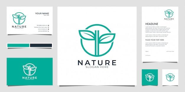 Blatt natur logo. logos können für spa, schönheitssalon, dekoration, boutique verwendet werden. und visitenkarte Premium Vektoren