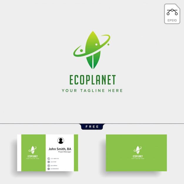 Blatt planet natur einfaches logo Premium Vektoren