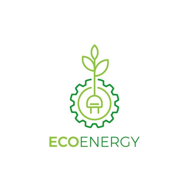 Blatt- und zahnradsymbol logo-design lineare art, eco energy logo template Premium Vektoren