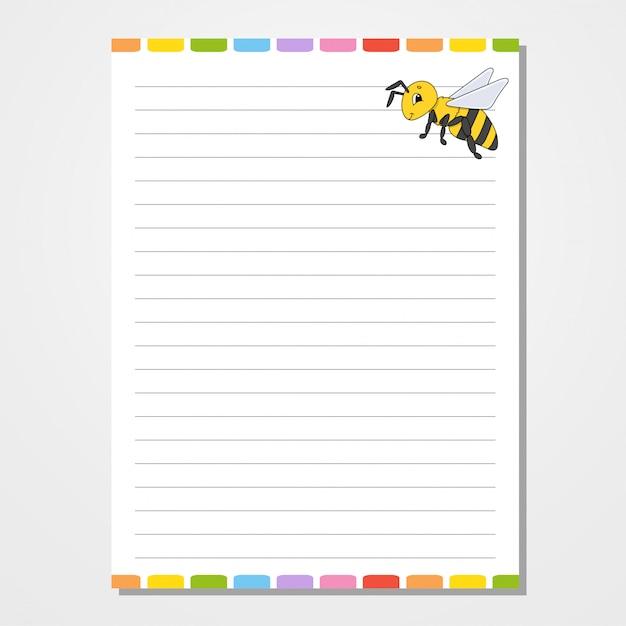 Blattvorlage für notebook, notizblock, tagebuch. Premium Vektoren