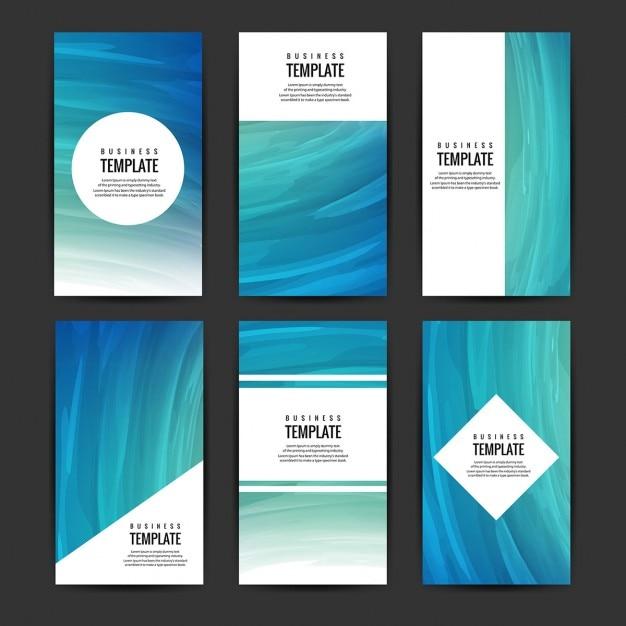 Blau broschüren sammlung Kostenlosen Vektoren