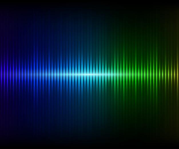 Blau-grüner, digital leuchtender equalizer. vektorabbildung mit lichteffekten auf dunklen hintergrund Premium Vektoren