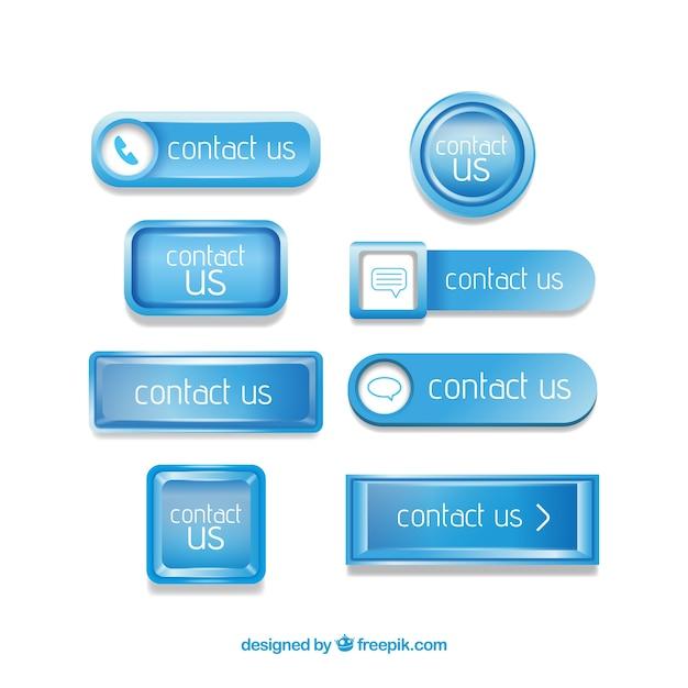 Blau kontaktknopf pack Kostenlosen Vektoren