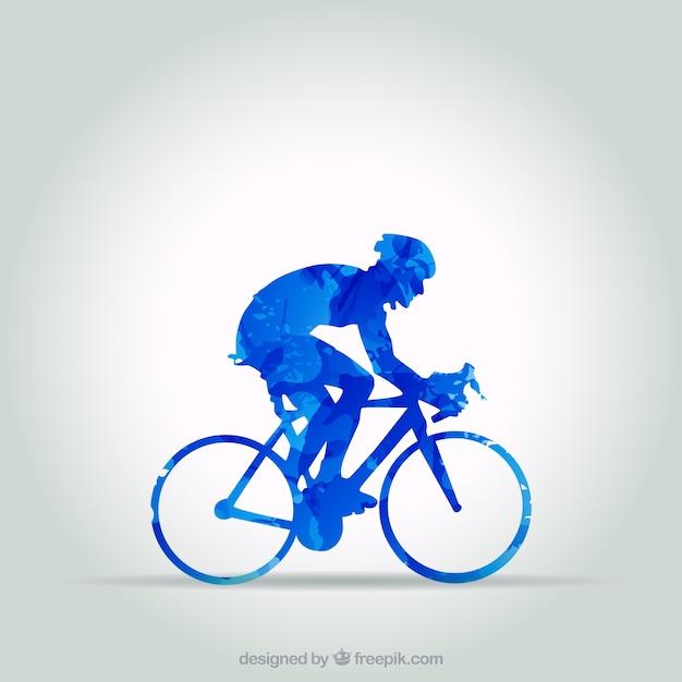 Blau radfahrer in abstrakten stil Kostenlosen Vektoren