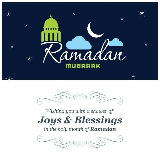 Blau ramadan grußkarte Kostenlosen Vektoren