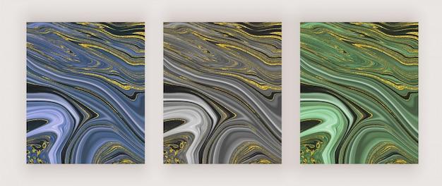 Blau, schwarz und grün mit dem abstrakten entwurf der goldenen glitzertintenfarbe Premium Vektoren
