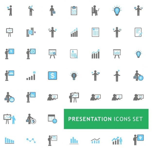 Blau und grau business presentation icon-set Kostenlosen Vektoren