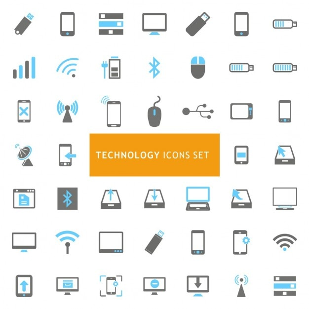 Blau und grau technologie icon-set Kostenlosen Vektoren
