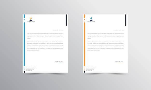 Blau und orange abtract briefkopf vorlage Premium Vektoren