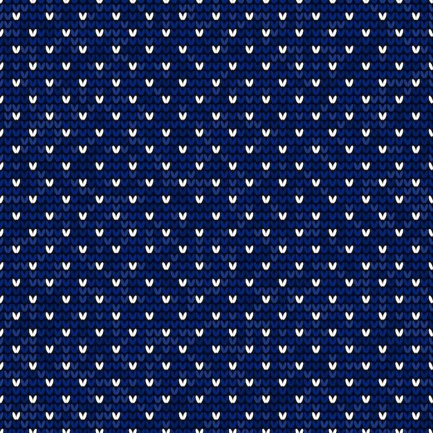 Blau und weiß, die nahtloses muster stricken Premium Vektoren