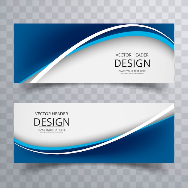 Blau wellig Banner Kostenlose Vektoren
