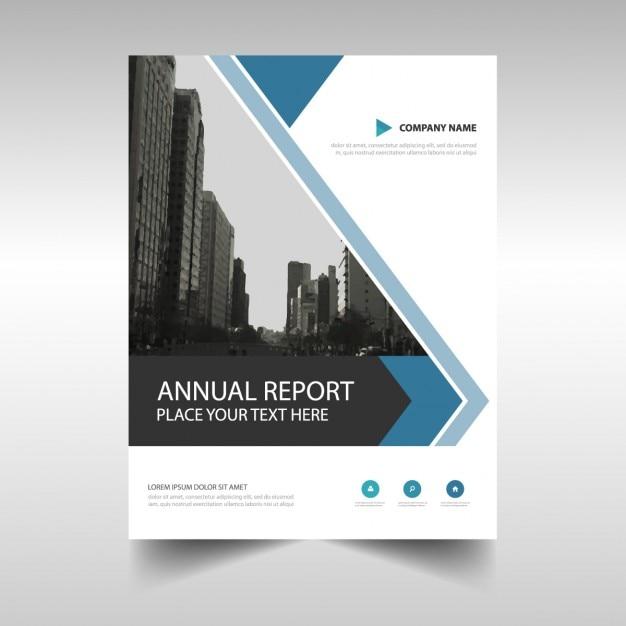 Blaue abstrakte dreieck broschüre template-design Kostenlosen Vektoren