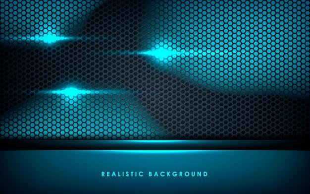 Blaue abstrakte schichten auf schwarzem hexagonhintergrund Premium Vektoren