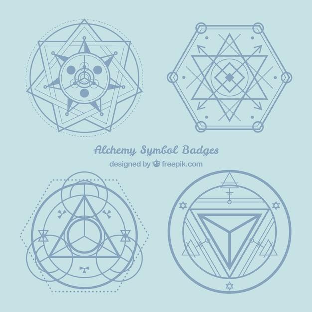 Blaue alchimie symbole abzeichen Kostenlosen Vektoren