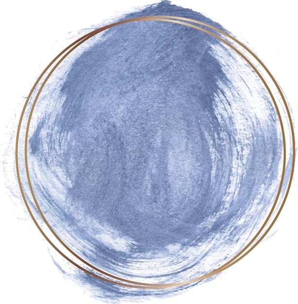 Blaue aquarellform mit goldenem linienrahmen Premium Vektoren