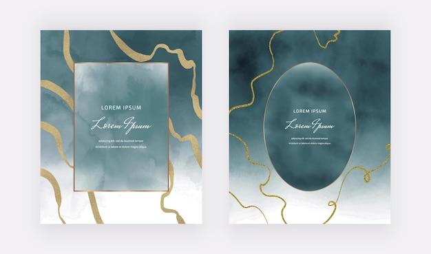 Blaue aquarellkarten mit geometrischen rahmen und goldenen glitzerlinien Premium Vektoren