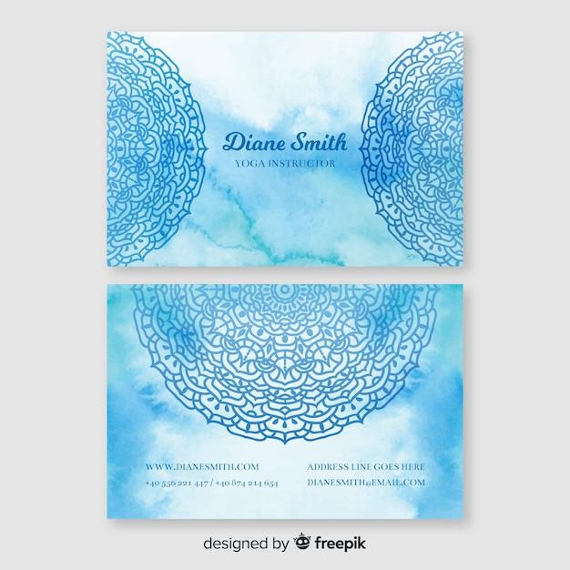 Blaue aquarellvisitenkarteschablone Kostenlosen Vektoren