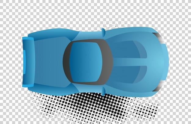 Blaue autodachansicht-vektorillustration Premium Vektoren
