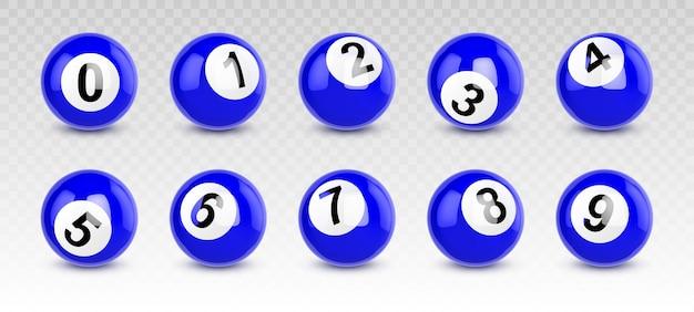 Blaue billardkugeln mit zahlen von null bis neun Kostenlosen Vektoren