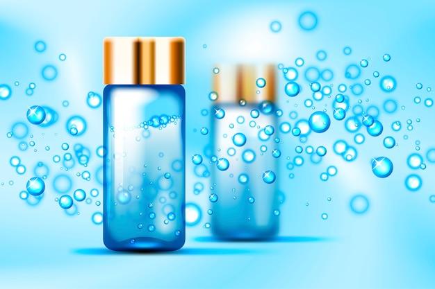 Blaue blasen und parfümglasflaschenmodell auf abstraktem raum Premium Vektoren