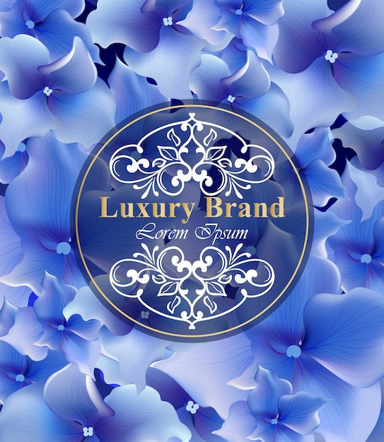 Blaue Blumen Karte Vektor Schone Illustration Fur Einladung
