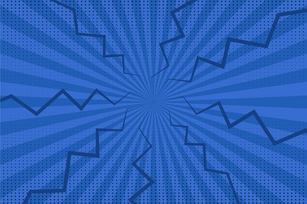 Blaue comic-tapete des flachen designs Kostenlosen Vektoren