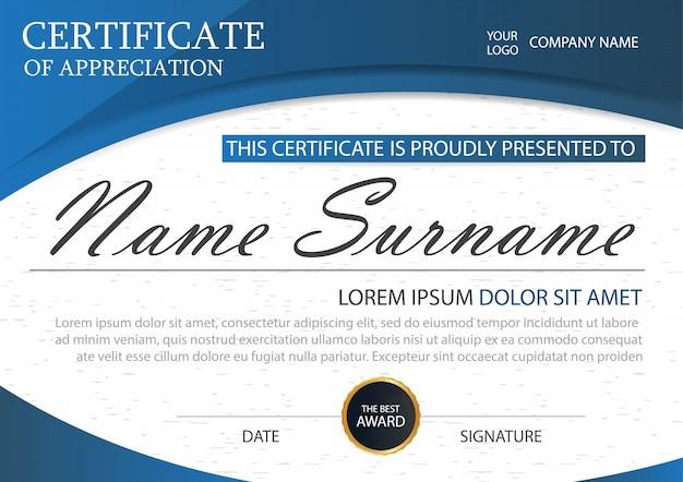 Blaue Eleganz horizontale Zertifikat mit Vektor-Illustration, weiße ...