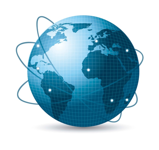 Blaue erde mit netz von satelliten mit schattenvektorillustration Premium Vektoren