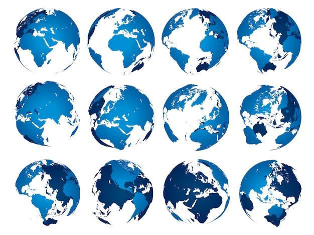 Blaue erdkugel. globes kugel silhouette isoliert satz Premium Vektoren