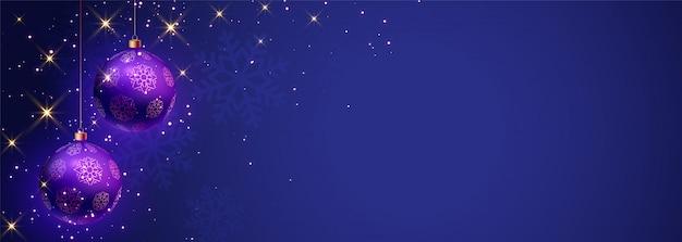 Blaue fahne der frohen weihnachten mit textplatz Kostenlosen Vektoren